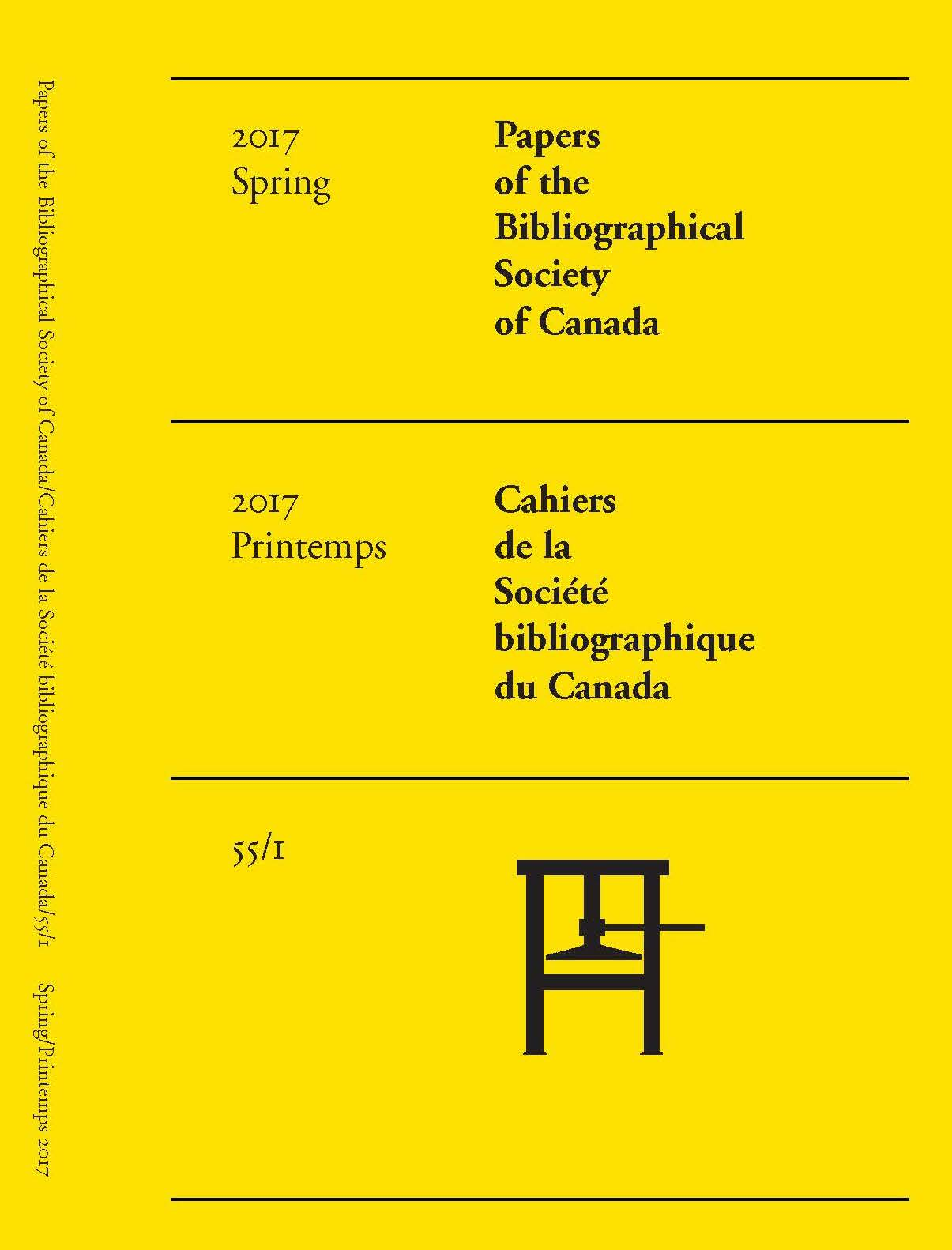 Cover - Vol 55, No 1 (2017) Papers of The Bibliographical Society of Canada